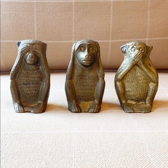 Vintage Other - Vintage Brass Wise Monkey Figures